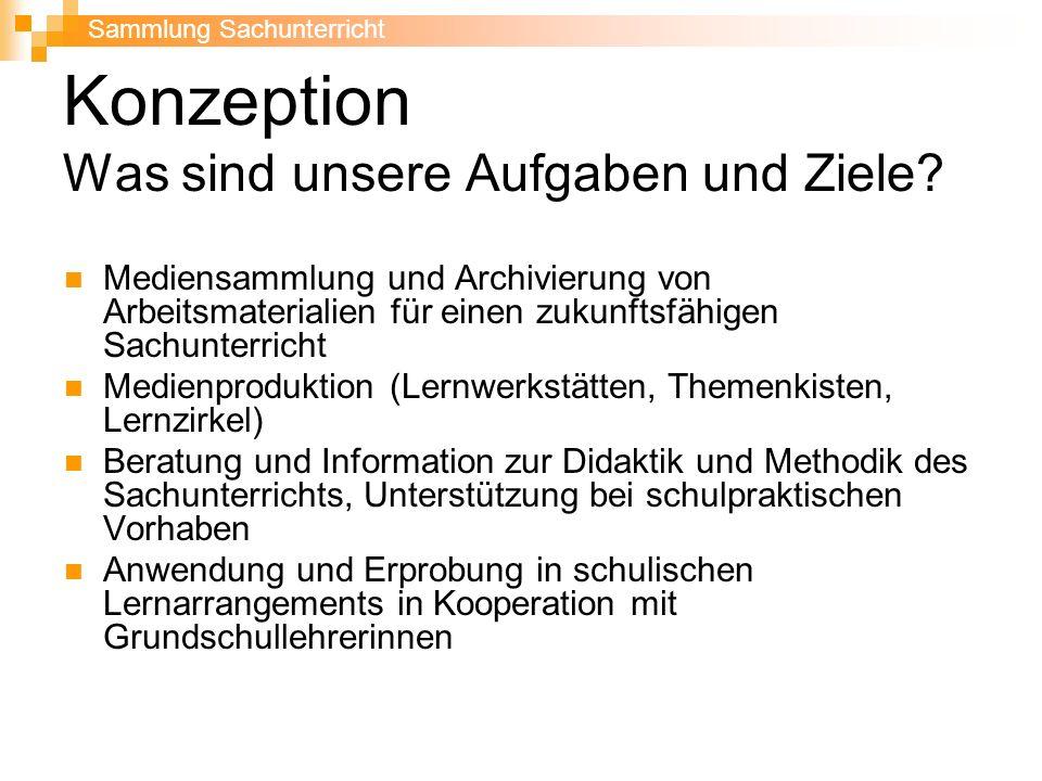 Konzeption Was sind unsere Aufgaben und Ziele? Mediensammlung und Archivierung von Arbeitsmaterialien für einen zukunftsfähigen Sachunterricht Medienp