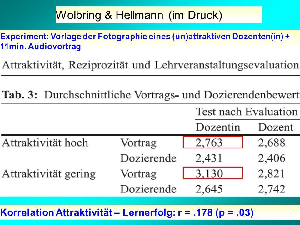 Wolbring & Hellmann (im Druck) Experiment: Vorlage der Fotographie eines (un)attraktiven Dozenten(in) + 11min.