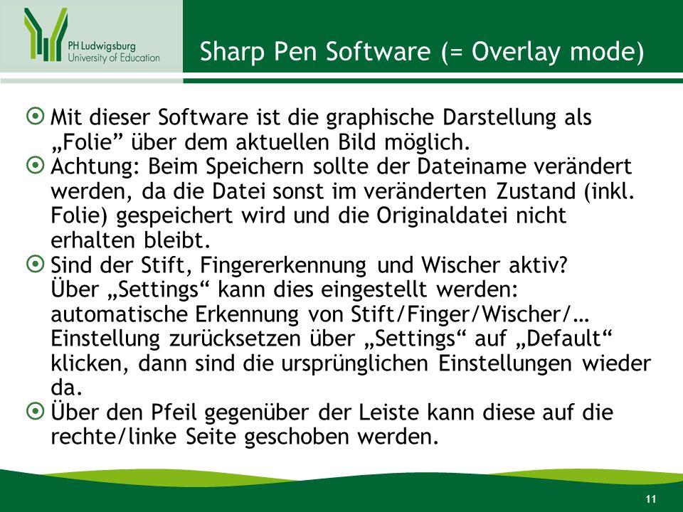 11 Sharp Pen Software (= Overlay mode) Mit dieser Software ist die graphische Darstellung als Folie über dem aktuellen Bild möglich. Achtung: Beim Spe