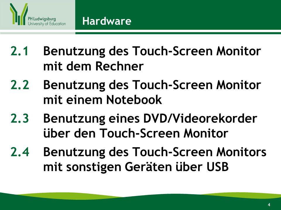 4 Hardware 2.1Benutzung des Touch-Screen Monitor mit dem Rechner 2.2Benutzung des Touch-Screen Monitor mit einem Notebook 2.3Benutzung eines DVD/Videorekorder über den Touch-Screen Monitor 2.4Benutzung des Touch-Screen Monitors mit sonstigen Geräten über USB