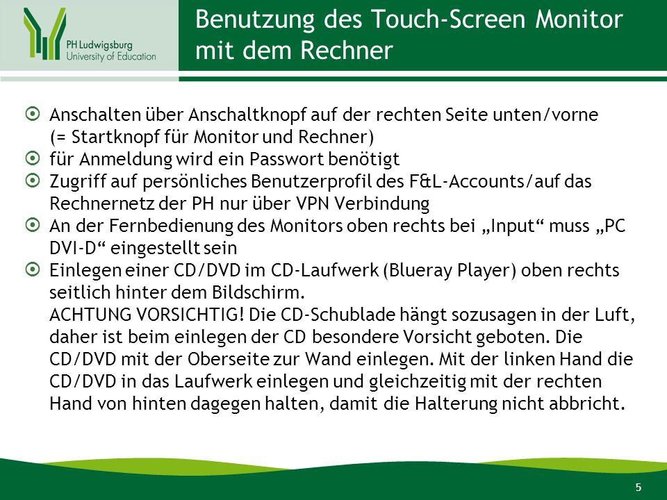6 Benutzung des Touch-Screen Monitor mit einem Notebook Anschalten des Monitors über Anschaltknopf – um die Touchfunktion nutzen zu können, muss der Rechner auch eingeschaltet sein Notebook über VGA-Kabel (= Bildschirmkabel, das auch bei der Verbindung mit einem Beamer verwendet wird) mit dem Monitor verbinden Notebook über spezielles USB-Kabel (siehe Stromleiste unterhalb des Monitors) für die Benutzung der Touch-Funktion mit dem Monitor verbinden -> diese Funktion sollte automatisch vom Notebook erkannt werden (Notebook installiert oft automatisch im Hintergrund passende Software).