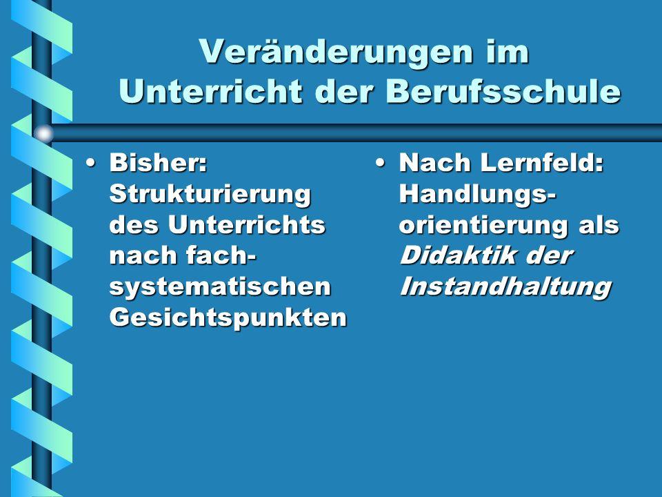Veränderungen im Unterricht der Berufsschule Bisher: Strukturierung des Unterrichts nach fach- systematischen GesichtspunktenBisher: Strukturierung de