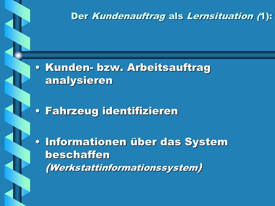 Der Kundenauftrag als Lernsituation (1): Kunden- bzw. Arbeitsauftrag analysierenKunden- bzw. Arbeitsauftrag analysieren Fahrzeug identifizierenFahrzeu