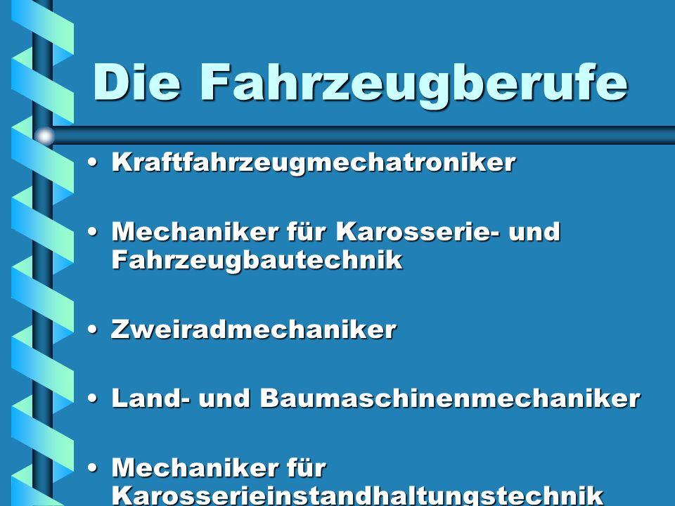 Kfz-Mechatroniker mit den Schwerpunkten Pkw-TechnikPkw-Technik NutzfahrzeugtechnikNutzfahrzeugtechnik Fahrzeug-Fahrzeug- kommunikationstechnik kommunikationstechnik MotorradtechnikMotorradtechnik