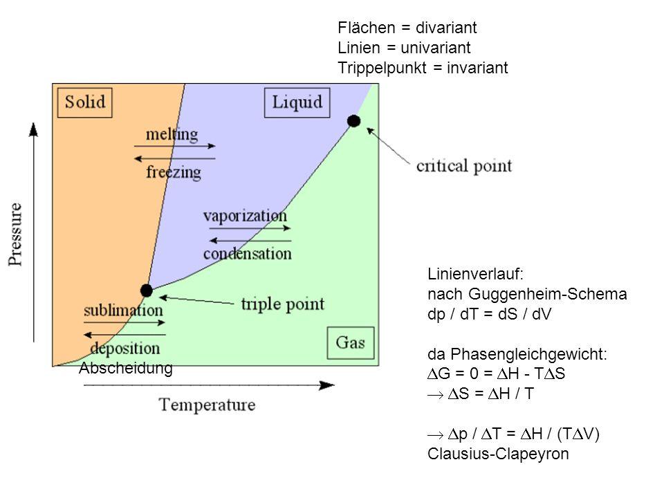 Flächen = divariant Linien = univariant Trippelpunkt = invariant Linienverlauf: nach Guggenheim-Schema dp / dT = dS / dV da Phasengleichgewicht: G = 0
