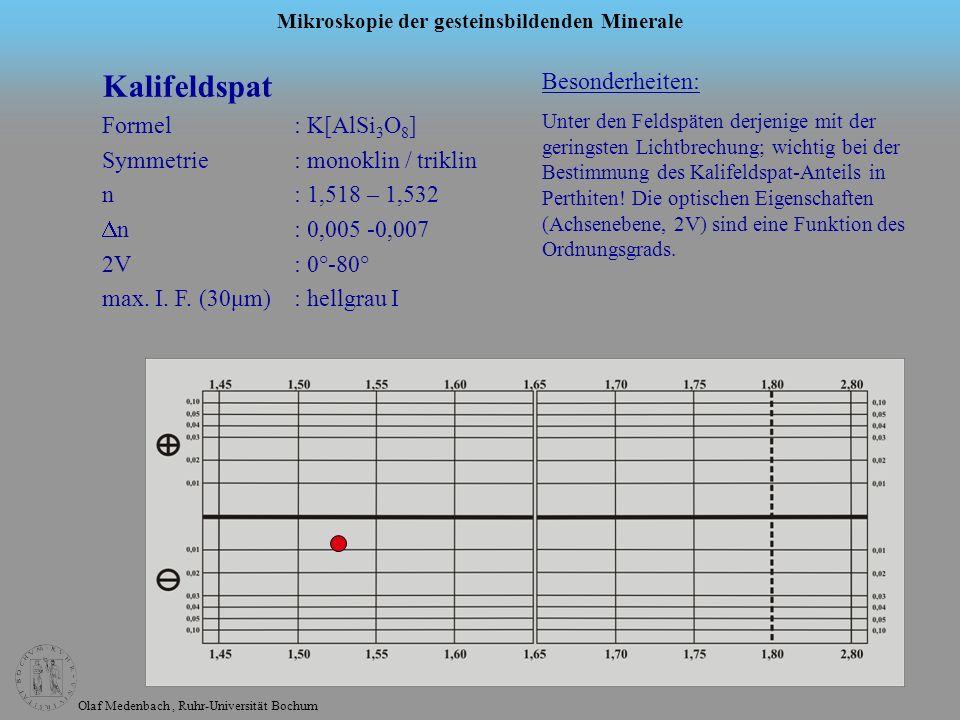 Olaf Medenbach, Ruhr-Universität Bochum Mikroskopie der gesteinsbildenden Minerale Kalifeldspat Formel: K[AlSi 3 O 8 ] Symmetrie: monoklin / triklin n