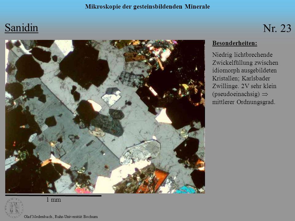 Olaf Medenbach, Ruhr-Universität Bochum Mikroskopie der gesteinsbildenden Minerale Sanidin Nr. 23 1 mm Besonderheiten: Niedrig lichtbrechende Zwickelf