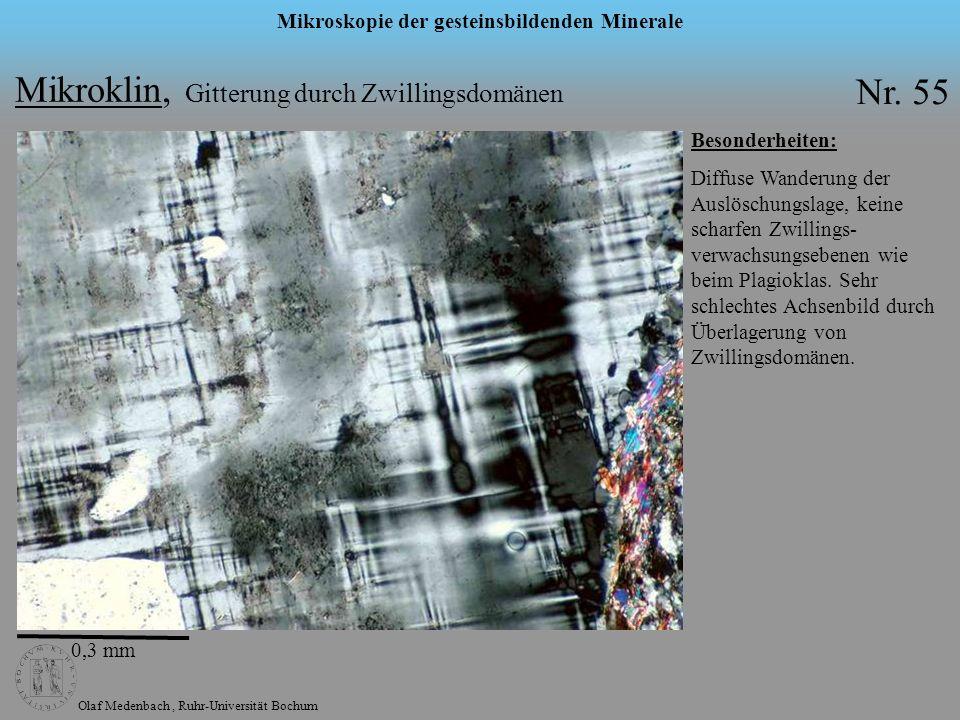 Olaf Medenbach, Ruhr-Universität Bochum Mikroskopie der gesteinsbildenden Minerale Mikroklin, Gitterung durch Zwillingsdomänen Nr. 55 0,3 mm Besonderh