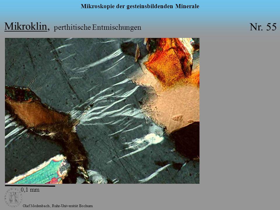 Olaf Medenbach, Ruhr-Universität Bochum Mikroskopie der gesteinsbildenden Minerale 0,1 mm Mikroklin, perthitische Entmischungen Nr. 55