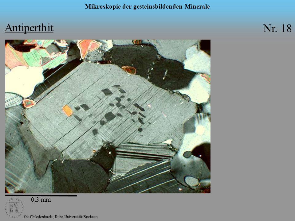 Olaf Medenbach, Ruhr-Universität Bochum Mikroskopie der gesteinsbildenden Minerale Antiperthit Nr. 18 0,3 mm