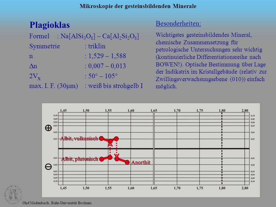 Olaf Medenbach, Ruhr-Universität Bochum Mikroskopie der gesteinsbildenden Minerale Plagioklas Formel: Na[AlSi 3 O 8 ] – Ca[Al 2 Si 2 O 8 ] Symmetrie: