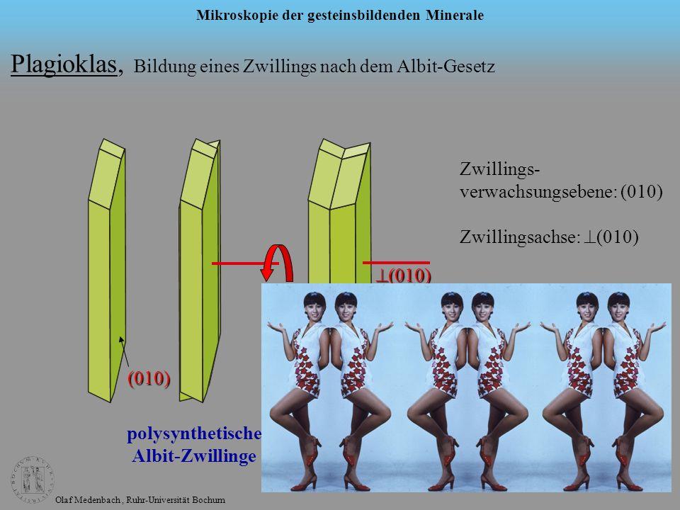Olaf Medenbach, Ruhr-Universität Bochum Mikroskopie der gesteinsbildenden Minerale Plagioklas, Bildung eines Zwillings nach dem Albit-Gesetz (010) (01