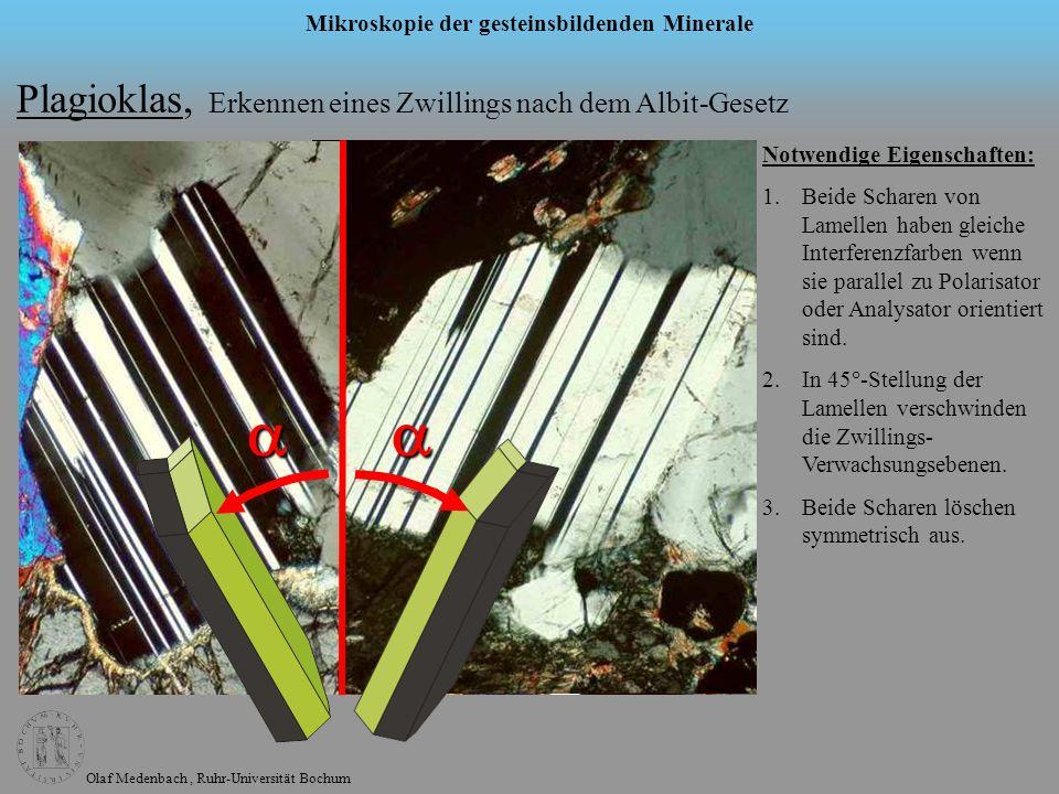 Olaf Medenbach, Ruhr-Universität Bochum Mikroskopie der gesteinsbildenden Minerale Plagioklas, Erkennen eines Zwillings nach dem Albit-Gesetz Notwendi