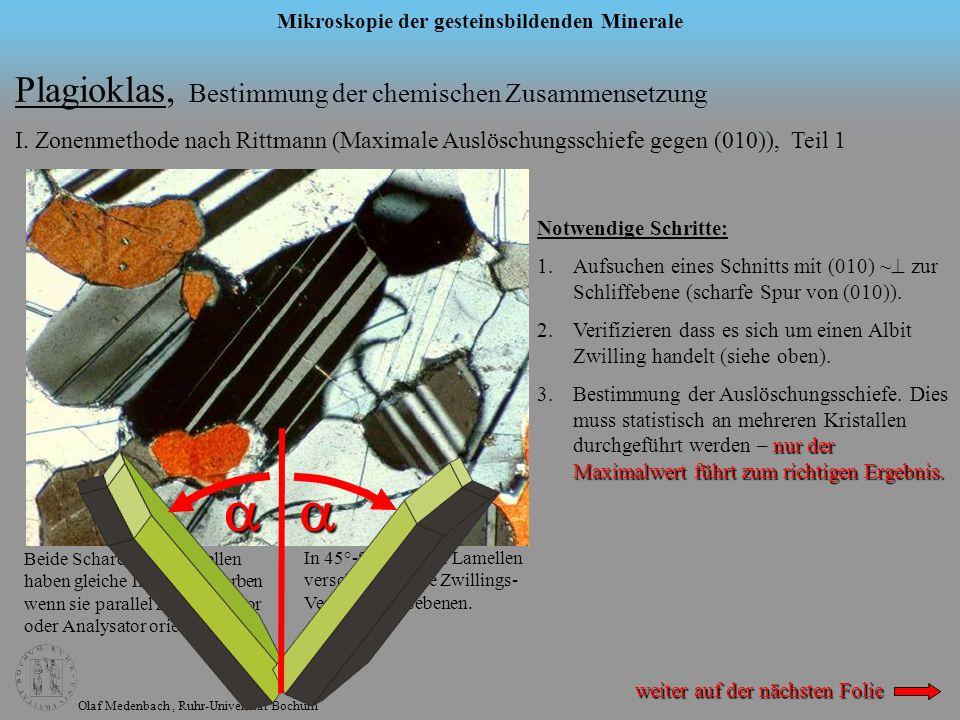 Olaf Medenbach, Ruhr-Universität Bochum Mikroskopie der gesteinsbildenden Minerale Plagioklas, Bestimmung der chemischen Zusammensetzung I. Zonenmetho