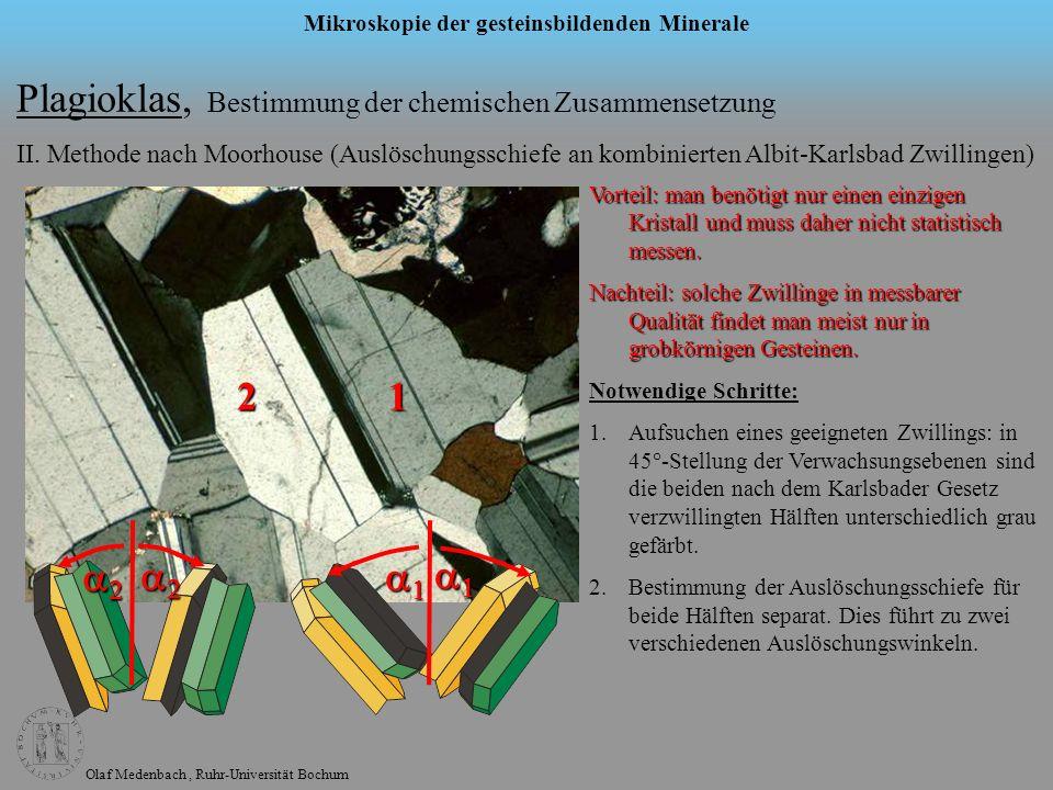 Olaf Medenbach, Ruhr-Universität Bochum Mikroskopie der gesteinsbildenden Minerale Plagioklas, Bestimmung der chemischen Zusammensetzung II. Methode n
