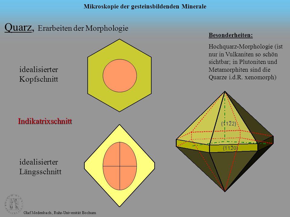Olaf Medenbach, Ruhr-Universität Bochum Mikroskopie der gesteinsbildenden Minerale Quarz, Erarbeiten der Morphologie idealisierter Kopfschnitt idealis
