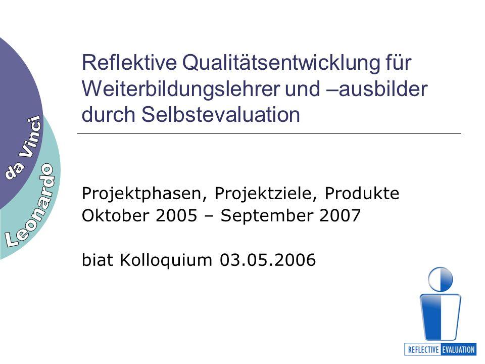 Reflektive Qualitätsentwicklung für Weiterbildungslehrer und –ausbilder durch Selbstevaluation Projektphasen, Projektziele, Produkte Oktober 2005 – September 2007 biat Kolloquium 03.05.2006