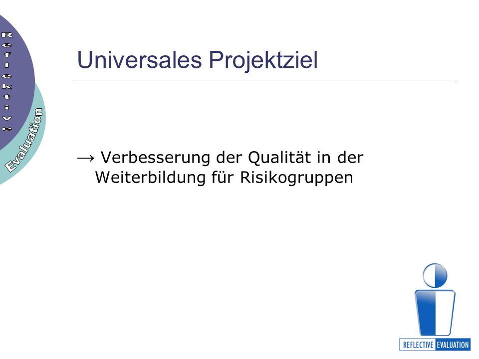 Universales Projektziel Verbesserung der Qualität in der Weiterbildung für Risikogruppen
