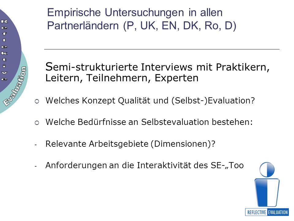 Empirische Untersuchungen in allen Partnerländern (P, UK, EN, DK, Ro, D) S emi-strukturierte Interviews mit Praktikern, Leitern, Teilnehmern, Experten Welches Konzept Qualität und (Selbst-)Evaluation.