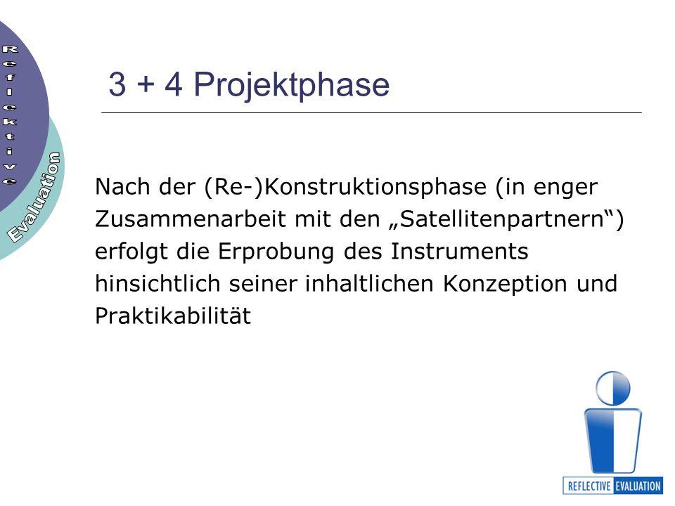 3 + 4 Projektphase Nach der (Re-)Konstruktionsphase (in enger Zusammenarbeit mit den Satellitenpartnern) erfolgt die Erprobung des Instruments hinsichtlich seiner inhaltlichen Konzeption und Praktikabilität