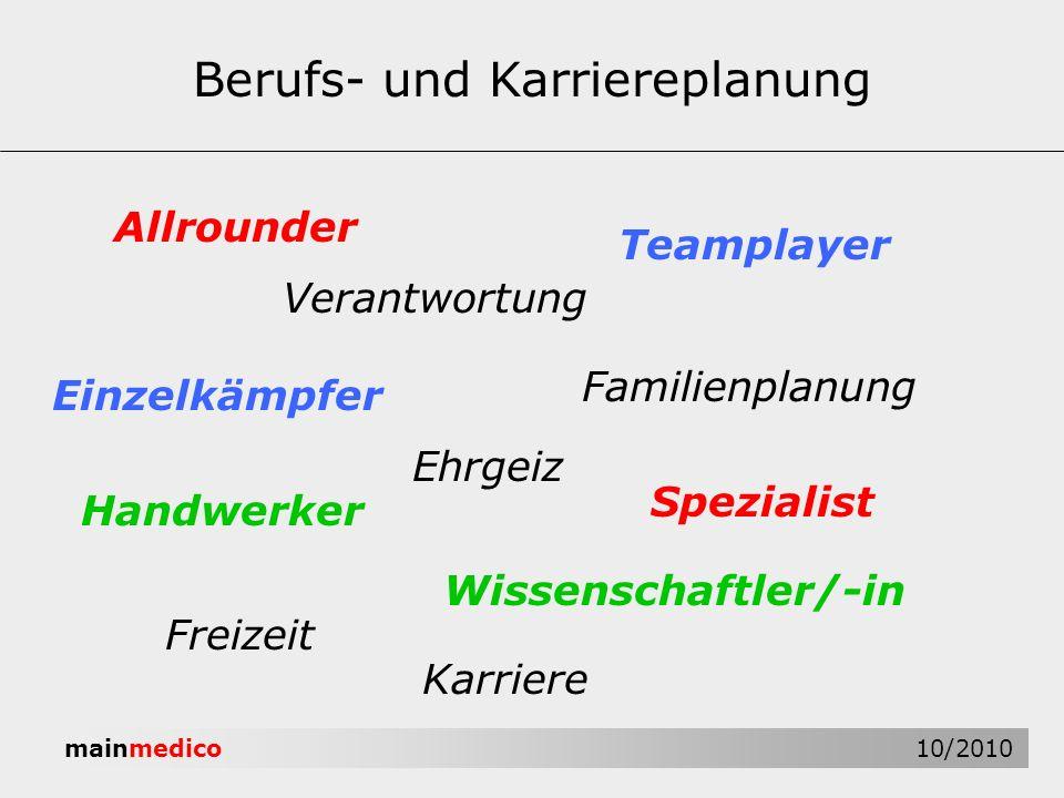 mainmedico 10/2010 Berufs- und Karriereplanung Allrounder Verantwortung Handwerker Einzelkämpfer Familienplanung Freizeit Wissenschaftler/-in Speziali