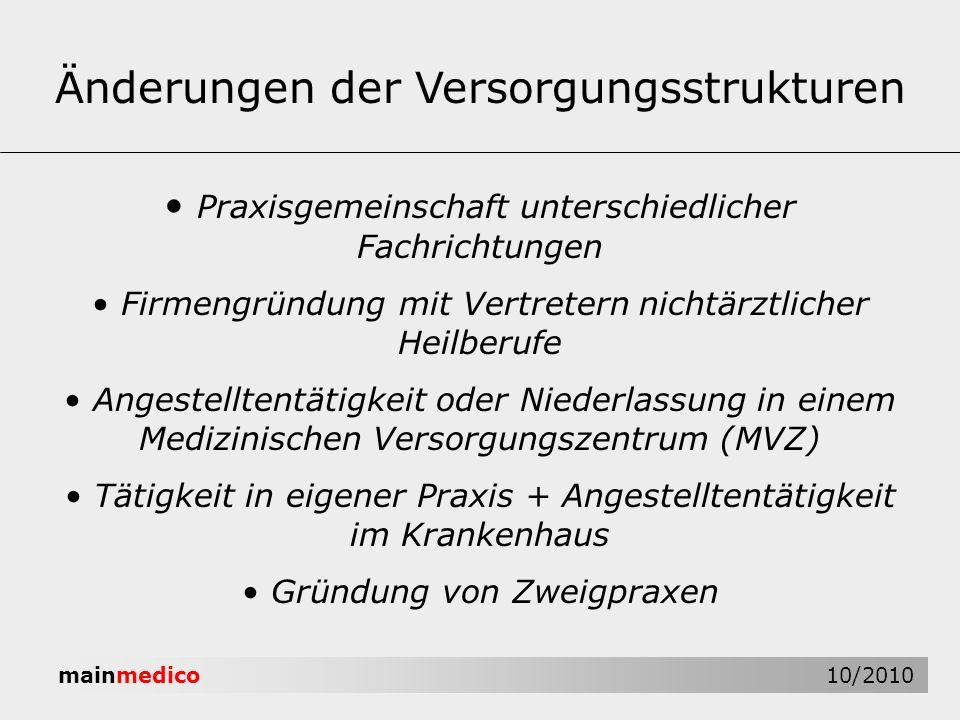 mainmedico 10/2010 Änderungen der Versorgungsstrukturen Praxisgemeinschaft unterschiedlicher Fachrichtungen Firmengründung mit Vertretern nichtärztlic