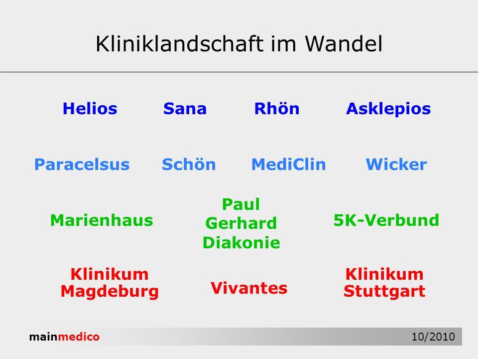 mainmedico 10/2010 Kliniklandschaft im Wandel HeliosRhönAsklepiosSana ParacelsusMediClin Marienhaus Paul Gerhard Diakonie Vivantes Klinikum Stuttgart