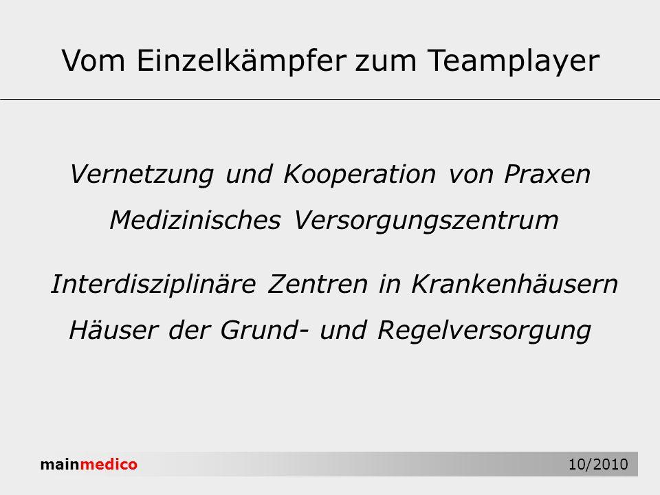 mainmedico 10/2010 Interdisziplinäre Zentren in Krankenhäusern Häuser der Grund- und Regelversorgung Vom Einzelkämpfer zum Teamplayer Vernetzung und K