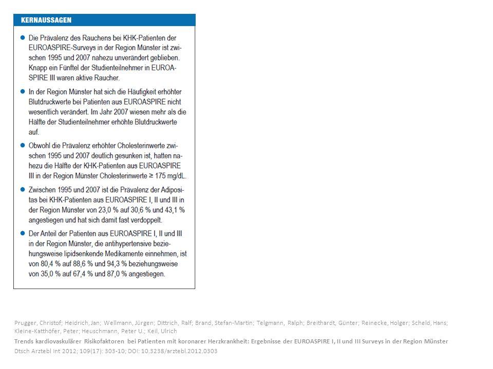 Prugger, Christof; Heidrich, Jan; Wellmann, Jürgen; Dittrich, Ralf; Brand, Stefan-Martin; Telgmann, Ralph; Breithardt, Günter; Reinecke, Holger; Scheld, Hans; Kleine-Katthöfer, Peter; Heuschmann, Peter U.; Keil, Ulrich Trends kardiovaskulärer Risikofaktoren bei Patienten mit koronarer Herzkrankheit: Ergebnisse der EUROASPIRE I, II und III Surveys in der Region Münster Dtsch Arztebl Int 2012; 109(17): 303-10; DOI: 10.3238/arztebl.2012.0303