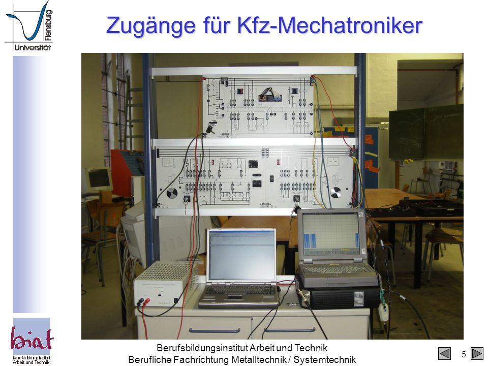 5 Berufsbildungsinstitut Arbeit und Technik Berufliche Fachrichtung Metalltechnik / Systemtechnik Zugänge für Kfz-Mechatroniker