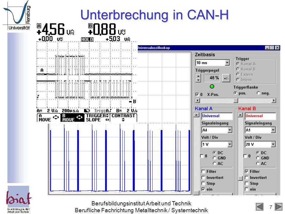 7 Berufsbildungsinstitut Arbeit und Technik Berufliche Fachrichtung Metalltechnik / Systemtechnik Unterbrechung in CAN-H