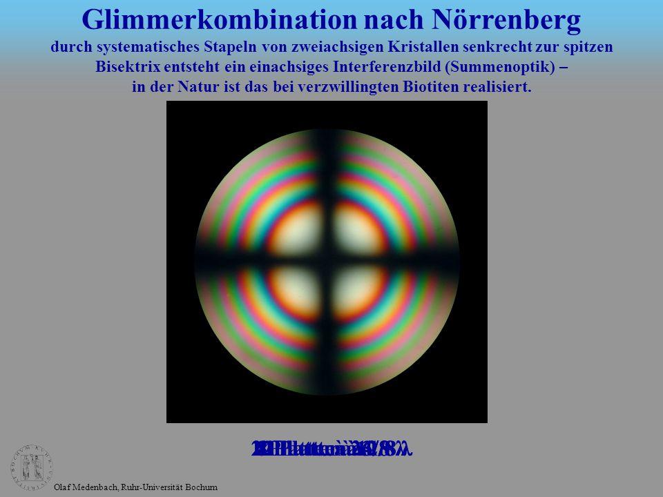 Olaf Medenbach, Ruhr-Universität Bochum Glimmerkombination nach Nörrenberg durch systematisches Stapeln von zweiachsigen Kristallen senkrecht zur spit