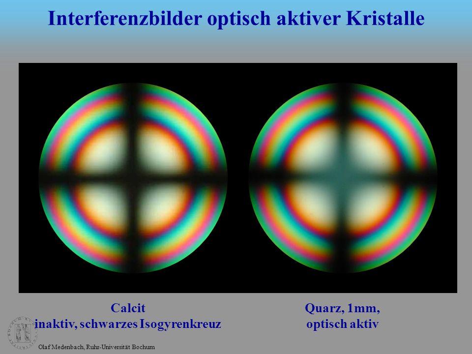 Olaf Medenbach, Ruhr-Universität Bochum Calcit inaktiv, schwarzes Isogyrenkreuz Quarz, 1mm, optisch aktiv Interferenzbilder optisch aktiver Kristalle