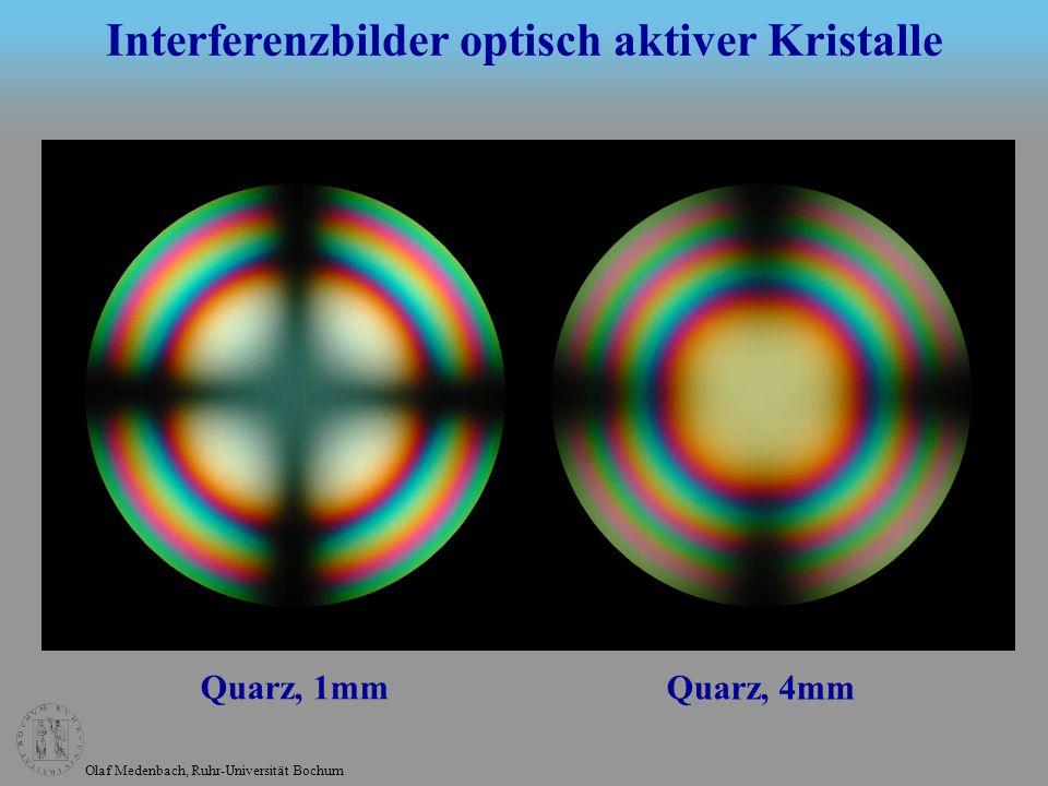 Olaf Medenbach, Ruhr-Universität Bochum Interferenzbilder optisch aktiver Kristalle Änderung des Interferenzbilds beim Drehen des Analysators Die Animation erfolgt nach dem nächsten Click.