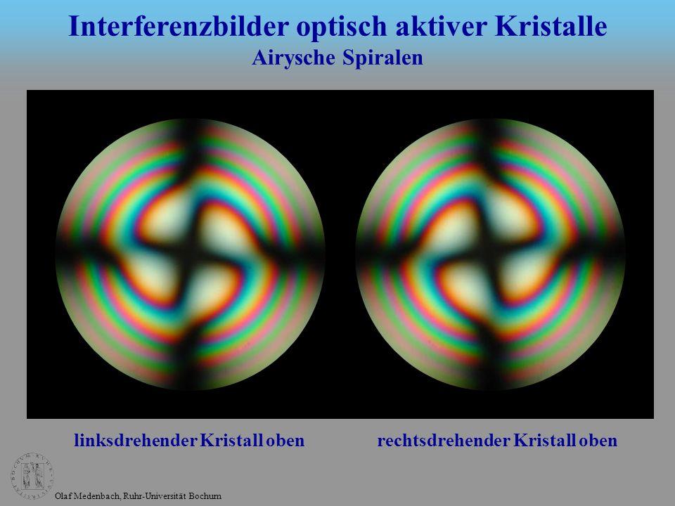 Olaf Medenbach, Ruhr-Universität Bochum linksdrehender Kristall oben rechtsdrehender Kristall oben Interferenzbilder optisch aktiver Kristalle Airysch