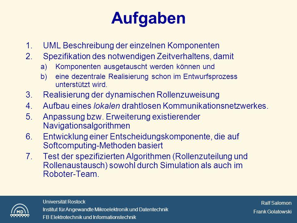 Ralf Salomon Frank Golatowski Universität Rostock Institut für Angewandte Mikroelektronik und Datentechnik FB Elektrotechnik und Informationstechnik Aufgaben 1.UML Beschreibung der einzelnen Komponenten 2.Spezifikation des notwendigen Zeitverhaltens, damit a)Komponenten ausgetauscht werden können und b)eine dezentrale Realisierung schon im Entwurfsprozess unterstützt wird.
