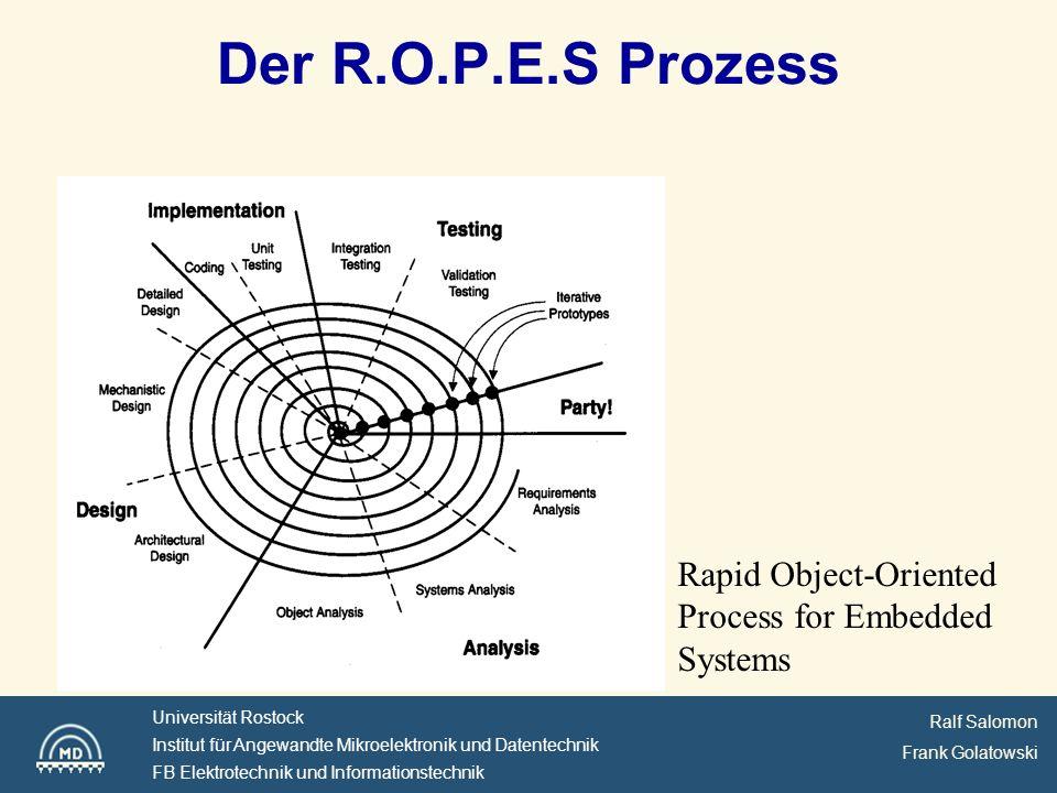 Ralf Salomon Frank Golatowski Universität Rostock Institut für Angewandte Mikroelektronik und Datentechnik FB Elektrotechnik und Informationstechnik Der R.O.P.E.S Prozess Rapid Object-Oriented Process for Embedded Systems