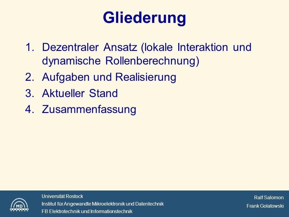 Ralf Salomon Frank Golatowski Universität Rostock Institut für Angewandte Mikroelektronik und Datentechnik FB Elektrotechnik und Informationstechnik Small size league
