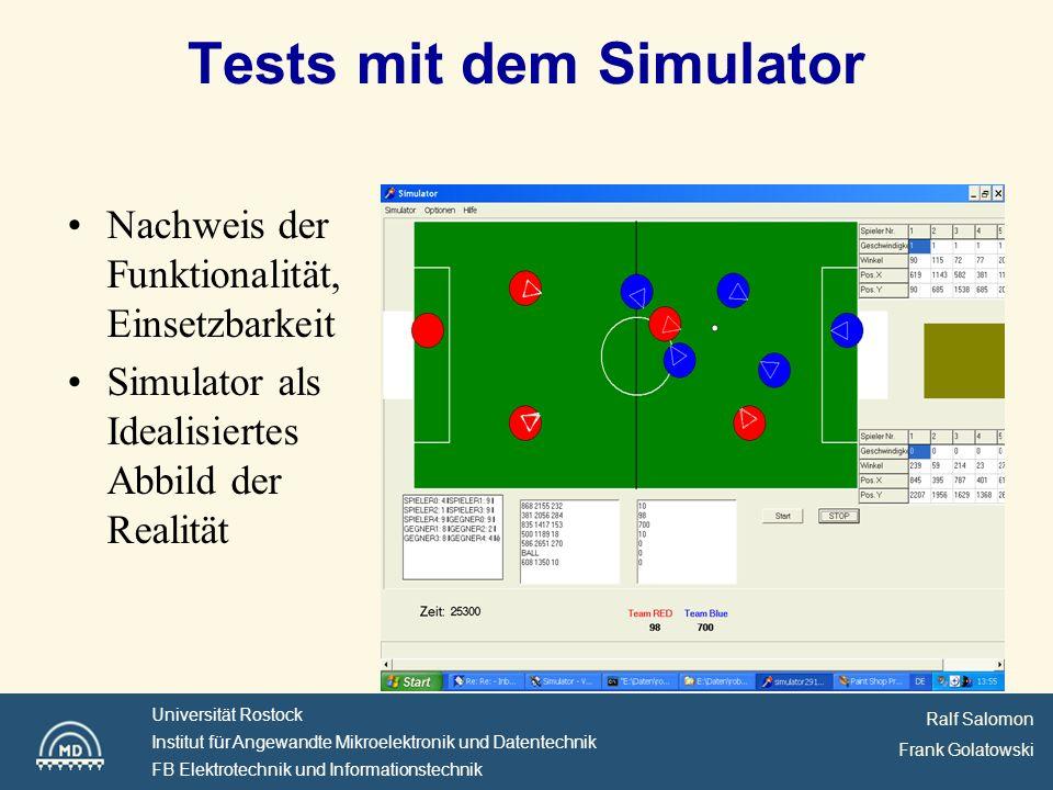 Ralf Salomon Frank Golatowski Universität Rostock Institut für Angewandte Mikroelektronik und Datentechnik FB Elektrotechnik und Informationstechnik Tests mit dem Simulator Nachweis der Funktionalität, Einsetzbarkeit Simulator als Idealisiertes Abbild der Realität