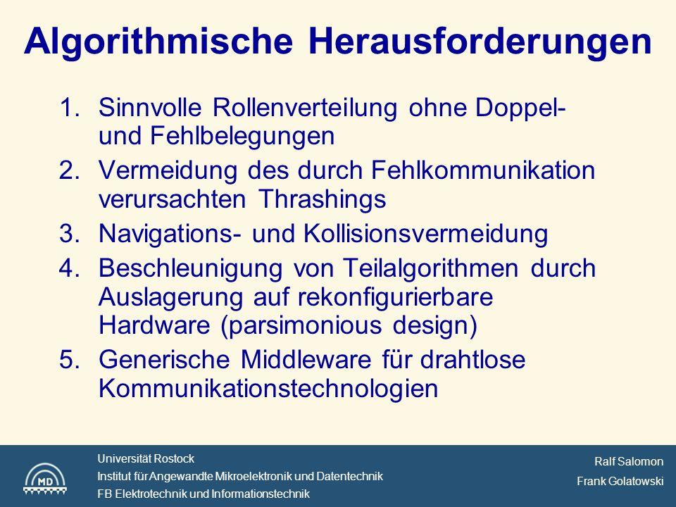 Ralf Salomon Frank Golatowski Universität Rostock Institut für Angewandte Mikroelektronik und Datentechnik FB Elektrotechnik und Informationstechnik Zentrale Architektur Bildverarbeitungs- komponente Daten komponente Strategie komponente Roboter komponente Simulator komponente Roboter komponente