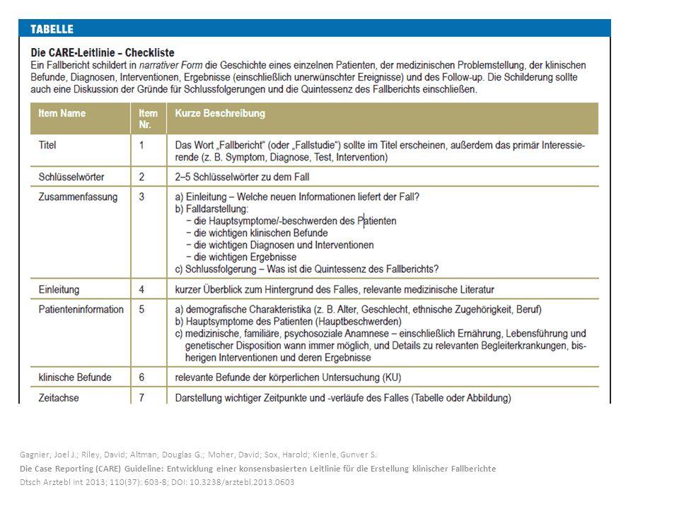 Gagnier, Joel J.; Riley, David; Altman, Douglas G.; Moher, David; Sox, Harold; Kienle, Gunver S. Die Case Reporting (CARE) Guideline: Entwicklung eine