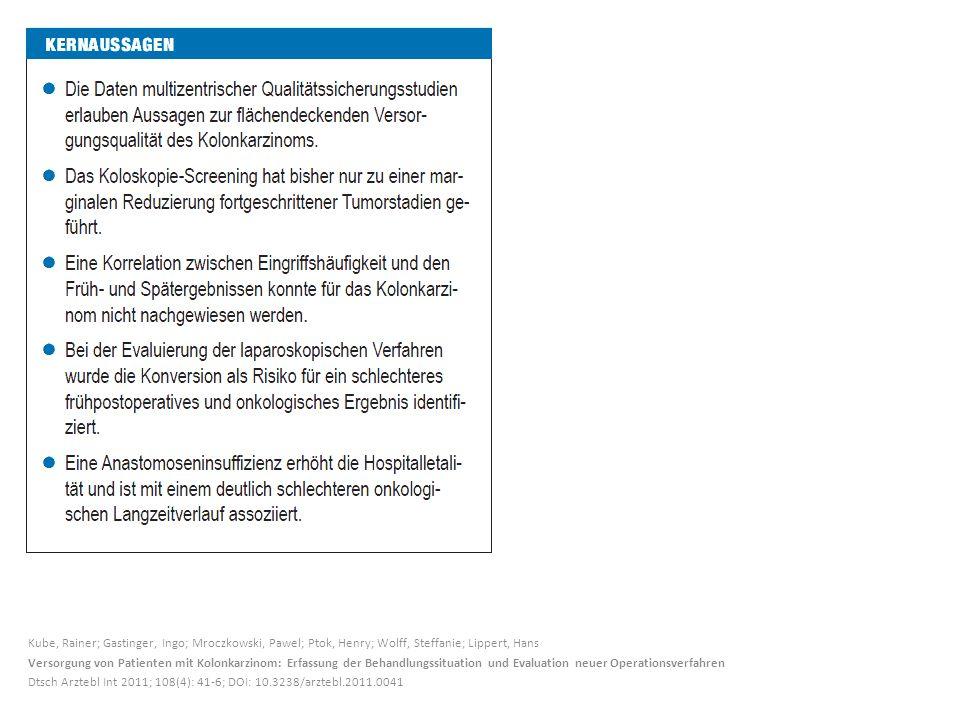 Kube, Rainer; Gastinger, Ingo; Mroczkowski, Pawel; Ptok, Henry; Wolff, Steffanie; Lippert, Hans Versorgung von Patienten mit Kolonkarzinom: Erfassung