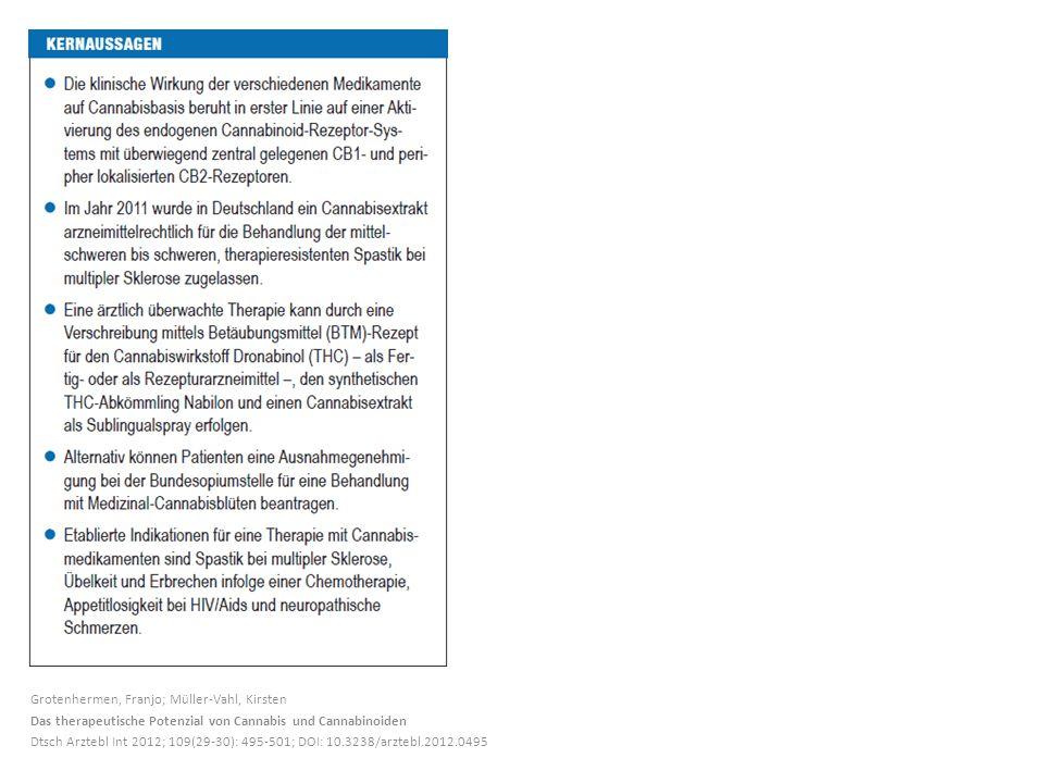 Grotenhermen, Franjo; Müller-Vahl, Kirsten Das therapeutische Potenzial von Cannabis und Cannabinoiden Dtsch Arztebl Int 2012; 109(29-30): 495-501; DOI: 10.3238/arztebl.2012.0495