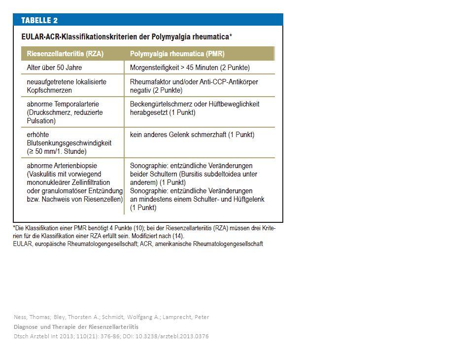 Ness, Thomas; Bley, Thorsten A.; Schmidt, Wolfgang A.; Lamprecht, Peter Diagnose und Therapie der Riesenzellarteriitis Dtsch Arztebl Int 2013; 110(21)