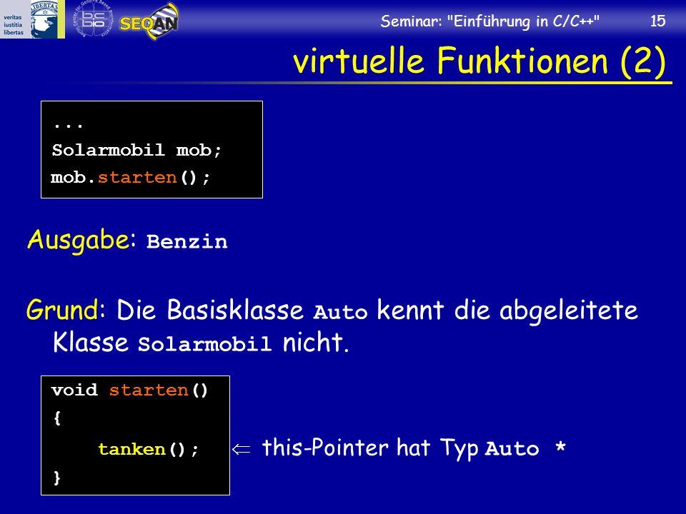 Seminar: Einführung in C/C++ 15 virtuelle Funktionen (2)...