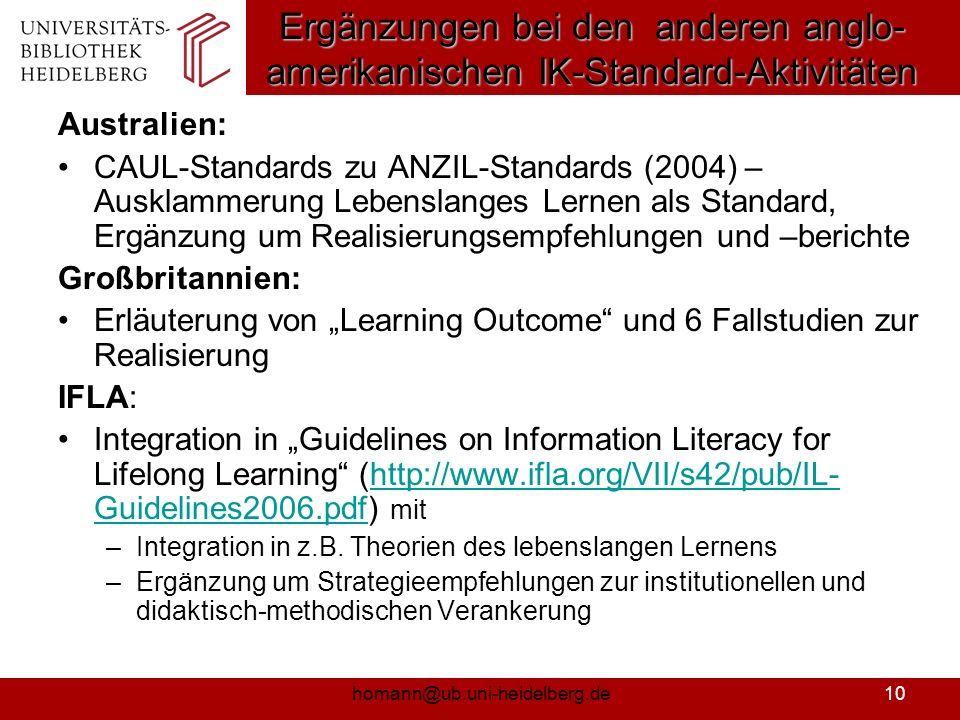 homann@ub.uni-heidelberg.de11 Standards der Informationskompetenz für Studierende (NIK-BW) 1.Die informationskompetenten Studierenden erkennen und formulieren ihren Informationsbedarf und bestimmen Art und Umfang der benötigten Informationen.