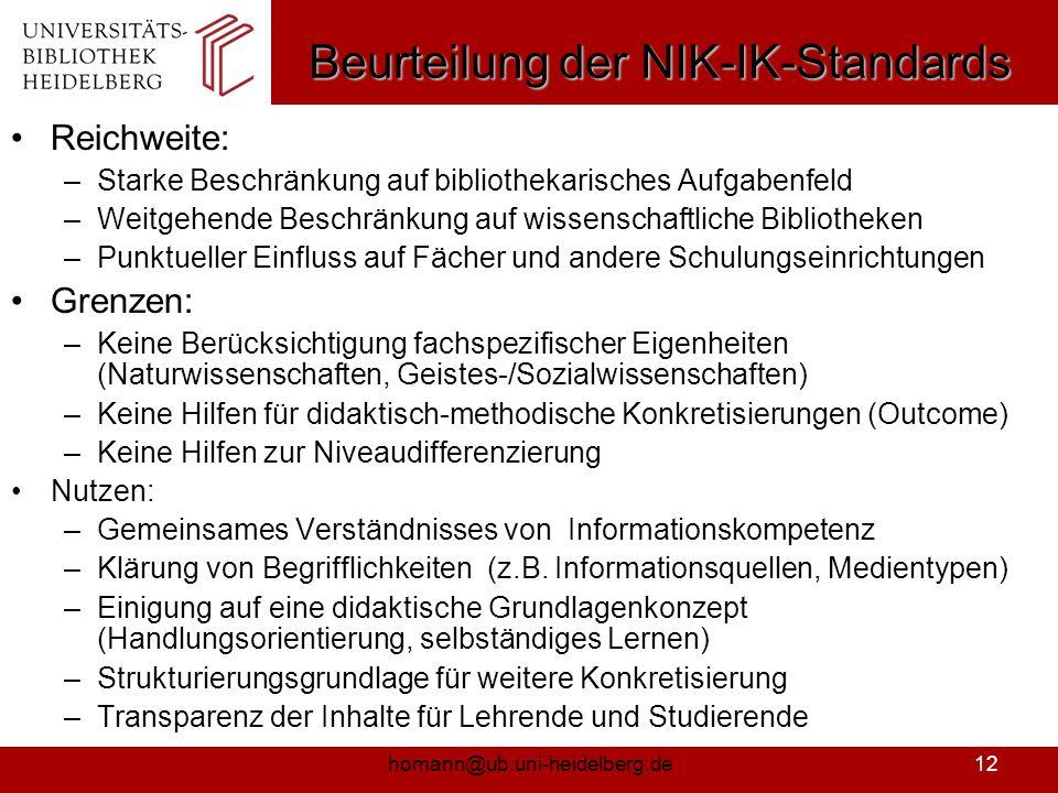 homann@ub.uni-heidelberg.de13 Erfahrungen mit den BW-Standards an der UB Heidelberg Didaktisch-konzeptionelle Entwicklung Modularisierung des Schulungsangebots in 4 Module (E-UB, R1=Katalog, R2=Datenbanken, R3=Fachportale, EndNote, Gymnasien) Einsatz aktivierender Methoden in den Veranstaltungen Einbindung von Schulungsaktivitäten der Institutsbibliotheken (E-IB) Erstellung von Online-Angeboten (z.B.