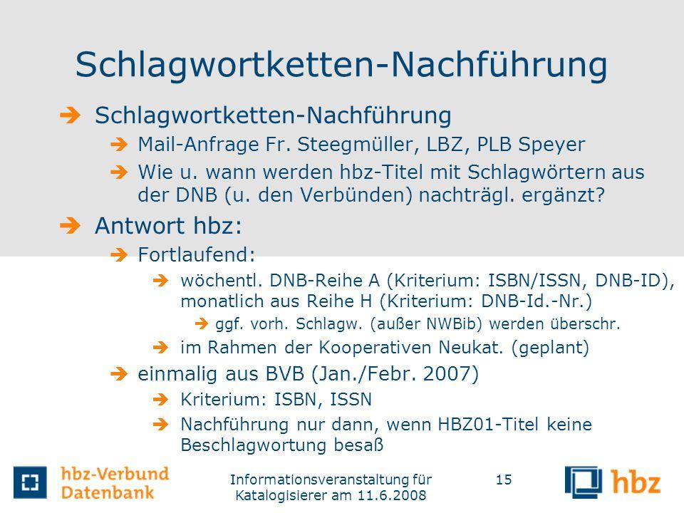 Informationsveranstaltung für Katalogisierer am 11.6.2008 15 Schlagwortketten-Nachführung Mail-Anfrage Fr. Steegmüller, LBZ, PLB Speyer Wie u. wann we