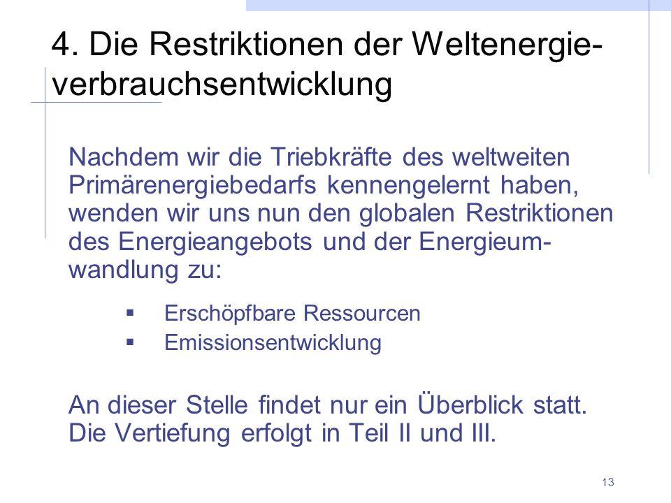 13 4. Die Restriktionen der Weltenergie- verbrauchsentwicklung Nachdem wir die Triebkräfte des weltweiten Primärenergiebedarfs kennengelernt haben, we