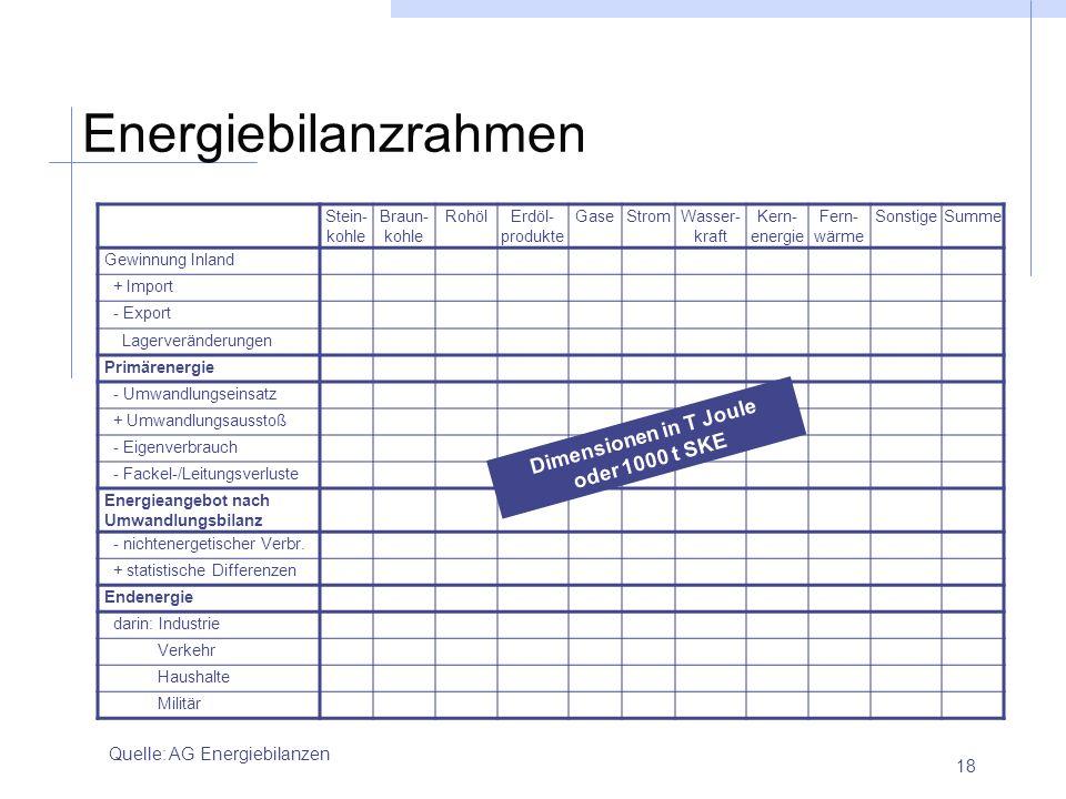 18 Energiebilanzrahmen Quelle: AG Energiebilanzen Stein- kohle Braun- kohle RohölErdöl- produkte GaseStromWasser- kraft Kern- energie Fern- wärme Sons